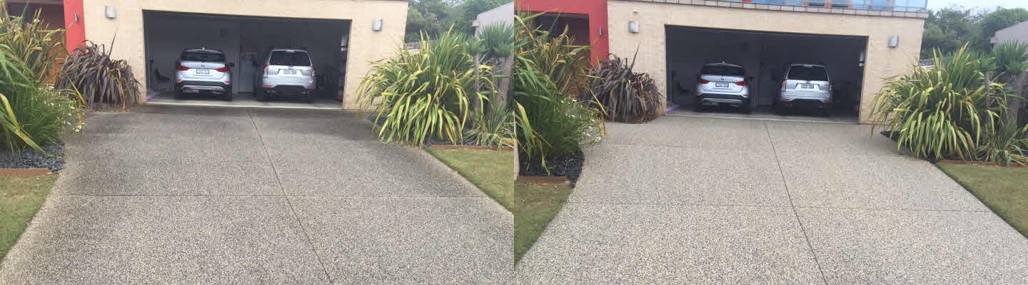 Pressure Washed Exposed Aggregate Driveway Fischer St. Torquay