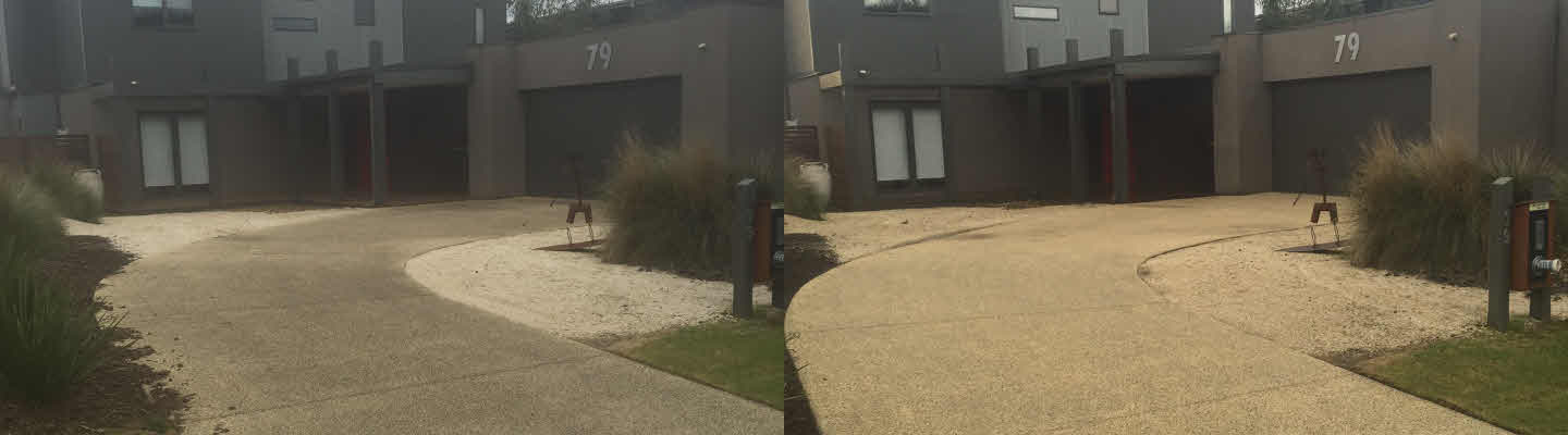 Before and After Pic of Pressure Washed Exposed Aggregate Driveway