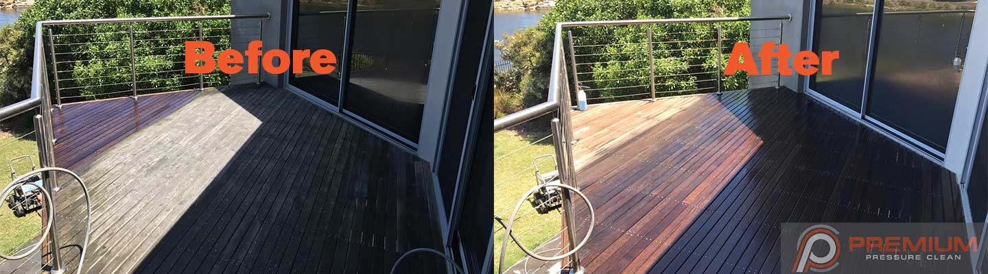 High pressure clean timber decking in Torquay before and after image