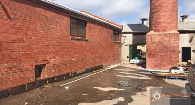 High Pressure Graffiti Removal from brick wall in Geelong after image