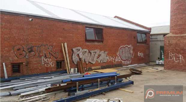 High Pressure Graffiti Removal from brick wall in Geelong before image